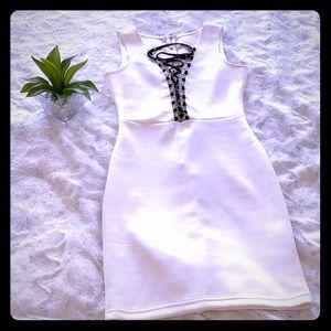 White lace-up dress